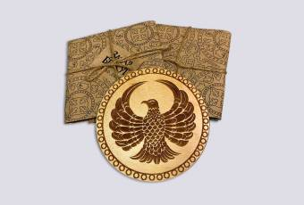 THE RISING HAWK Wooden Mug Coaster