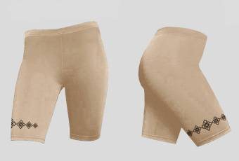 Beige Bike Shorts with Ornament of Ancient Runes