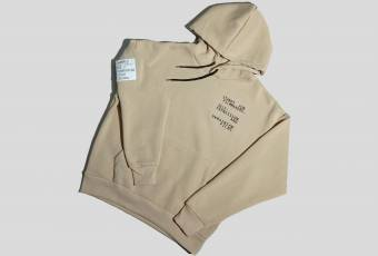 "Hoodie from UFS with embroidery ""STANDS FOR FIlMMAKERS"", beige"