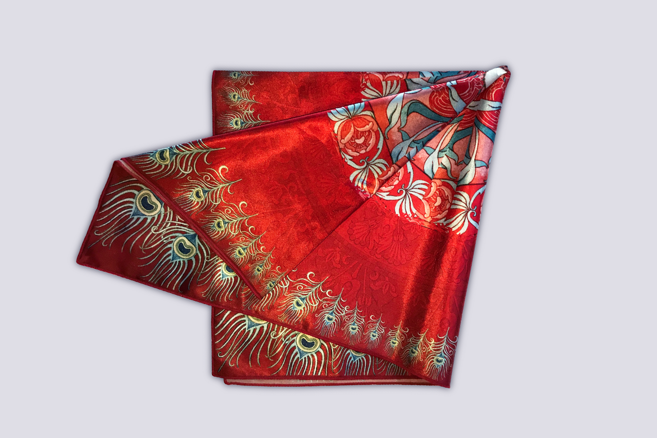Maid-in-Law Red Kaleidoscope Satin Headscarf